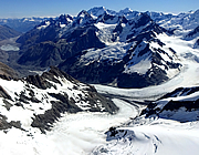 Murchison glacier on the Fritz Mountain Range, New Zealand