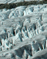 close-up of crevasses in the glacier