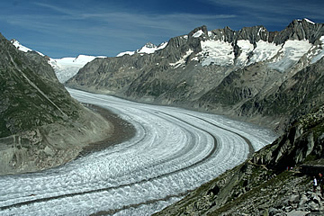 The glacier, looking north east towards Jungfrajoch. The UNESCO trail is on the lower right