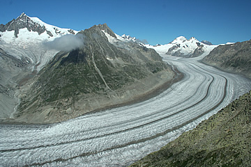 The glacier descending from the Jungfraujoch viewed  from Eggishorn