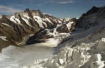 View from Eismeer: Schreckhorn on the left and the Lower Grindelwald Glacier September 1990