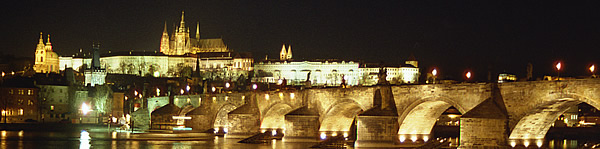 Prague skyline at night