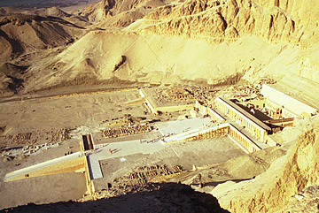 The Mortuary Temple of Hatshepsut from the mountainside