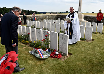 Serre, rededication Service for Lieutenant Charles Stonehouse