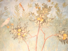 detail of fresco from a courtyard in livia's house
