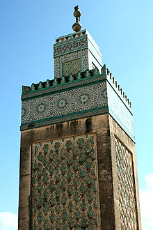 the minaret of the Bou Inania mosque from the cafe clock