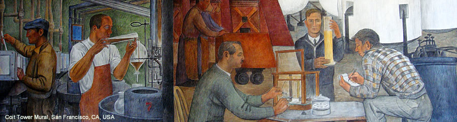 The Silk Route - World Travel: Coit Tower Mural, San Francisco, CA, USA